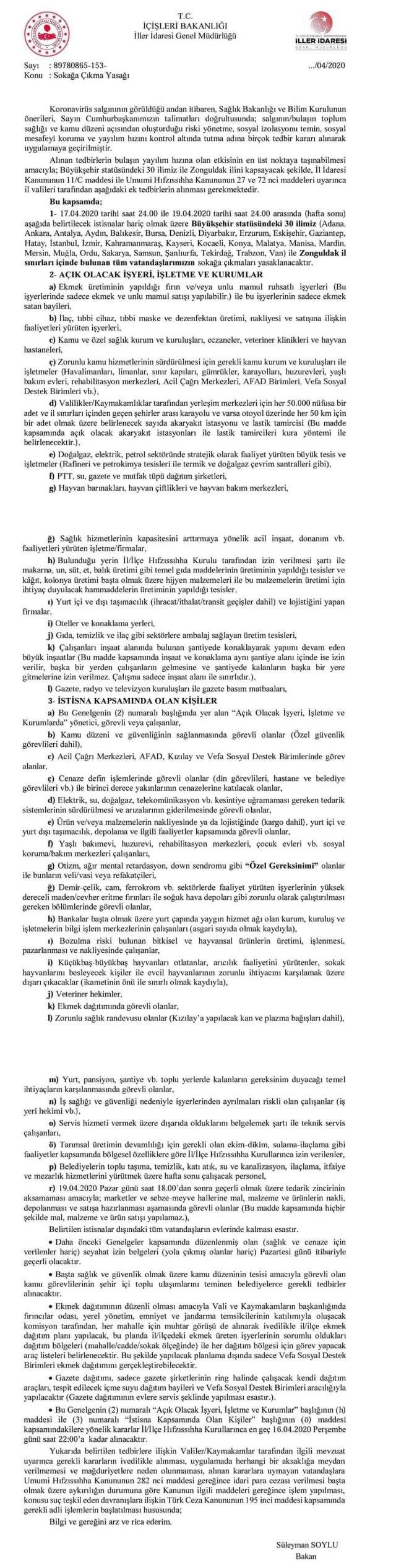 İçişleri Bakanlığı Sokağa Çıkma Yasağı Açıklaması